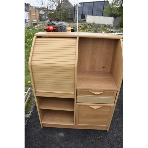 310 - A BEECH ROLL TOP DESK