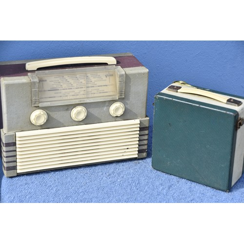 49 - AN OLD SMALL SUITCASE VIDOR VALVE RADIO AND A LARGER  VIDOR RADIO