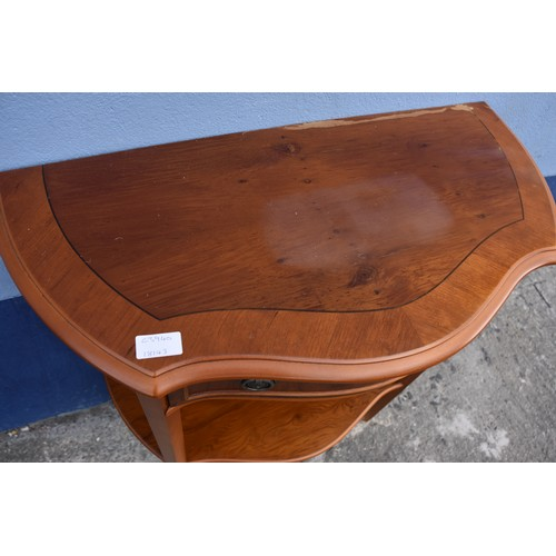 368 - A ROSEWOOD DEMI LUNE HALL TABLE