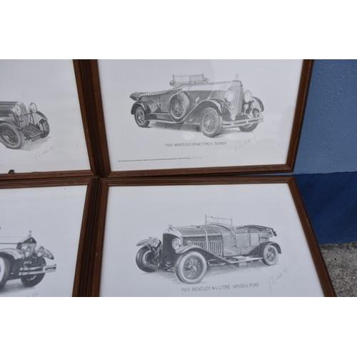 375 - 4 CLASSIC CAR PRINTS IN MAHOGANY FRAMES