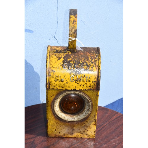 382 - YELLOW ROAD SAFETY LAMP STAMPED KERLEY MCGINN