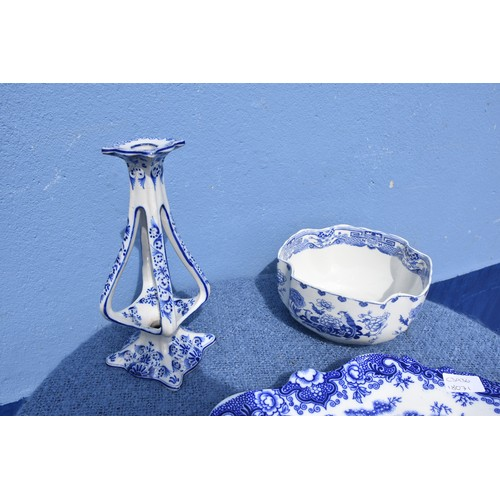 407 - A VICTORIAN BLUE AND WHITE PLATTER A MASONS BOWL(HAIRLINE) AND A CANDLESTICK