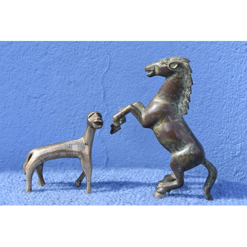 425 - 2 SMALL BRONZE A HORSE & 1 OTHER