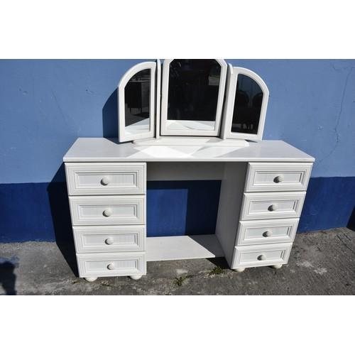 431 - A WHITE DRESSING CHEST WITH GULL WING MIRROR