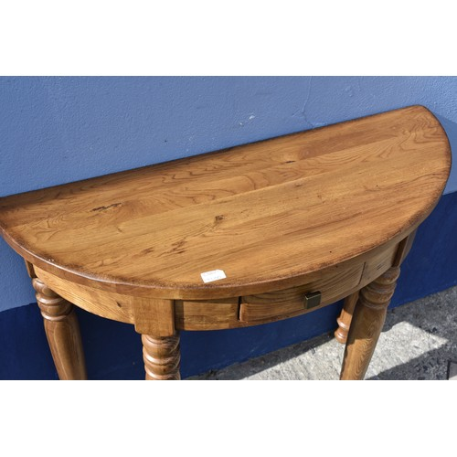 444 - A HEAVY PINE 1/2 MOON TABLE WITH DRAWER