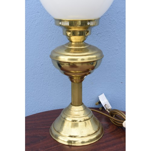 446 - CONVERTED OIL LAMP WITH MILK GLASS SHADE