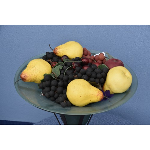 451 - LARGE GLASS VASE IN METAL BASE AND STILL LIFE FRUIT