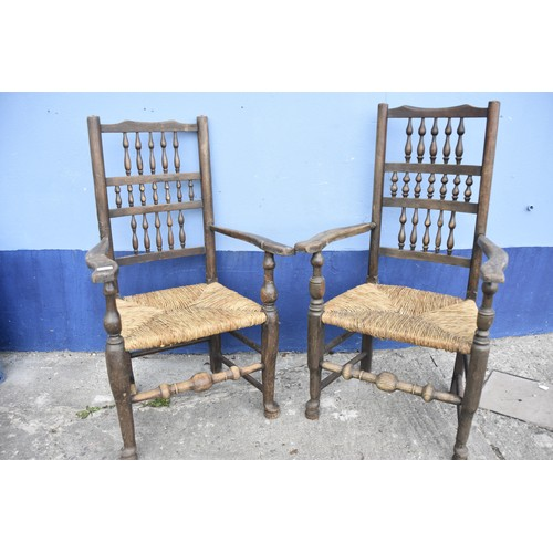 456 - PR OF STRAW SEATED COUNTRY ARMCHAIRS