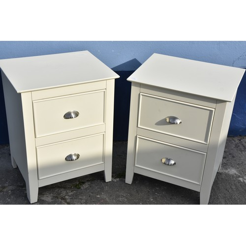 477 - PAIR OF WHITE 3 DRAWERED BEDSIDES