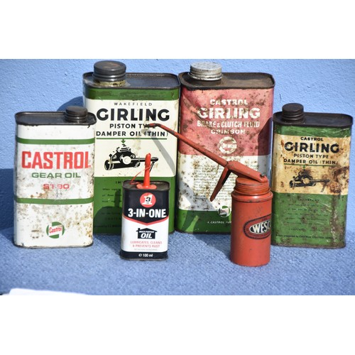 508 - 6 ASSORTED SMALL OIL CANS