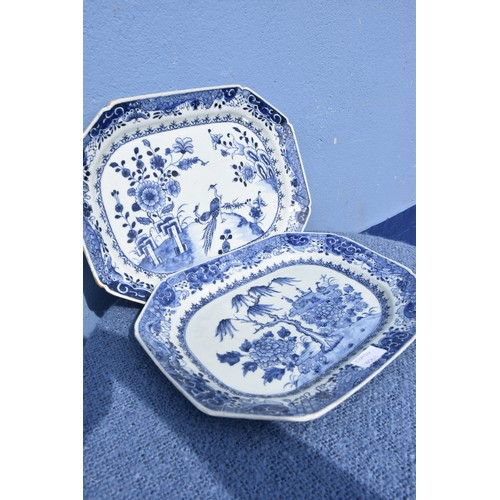 515 - 2 BLUE AND WHITE PLATTERS APP 13.5