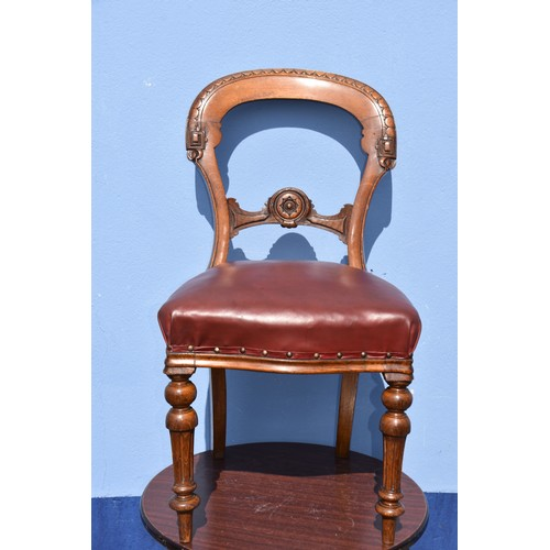 540 - A VICTORIAN OAK AND LEATHER DESK CHAIR