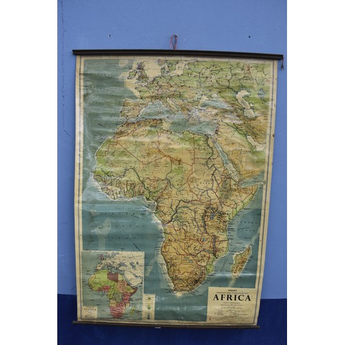 552 - OLD SCHOOL HOUSE CANVAS BACKED MAP OF AFRICA 46 x 68
