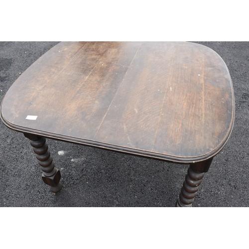 575 - SMALL OAK EXTENDING TABLE ON BOBON LEG 36W