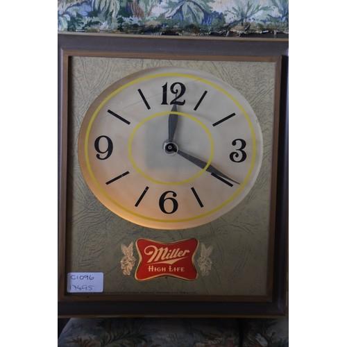 591 - VINTAGE MILLAR LIGHT UP clock 12X10.5