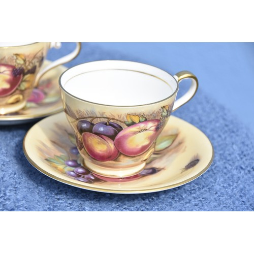 596 - SET OF 4  ANYSLEY CUP AND SAUCER ORCHARD GOLD