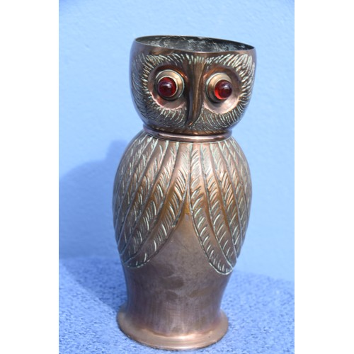 601 - COPPER OWL JUG WITH RED EYES