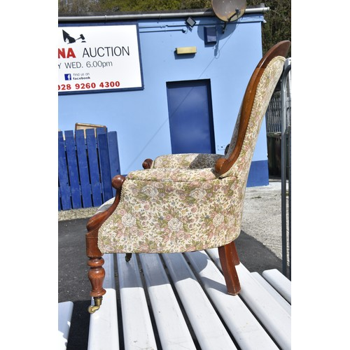 577 - A VICTORIAN SPOON BACK ARMCHAIR IN GOOD CONDITION