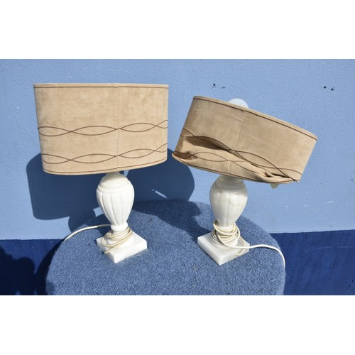 164 - PAIR OF MARBLE TABLE LAMPS