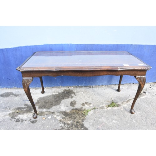 168 - LONG JOHN COFFEE TABLE WITH GLASS TOP