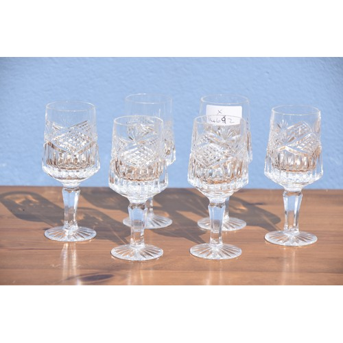 320 - SET OF 6 CRYSTAL SHERRY GLASSES