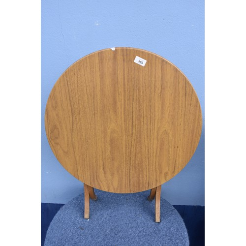 369 - NEAT ROUND FOLDING RETRO TABLE