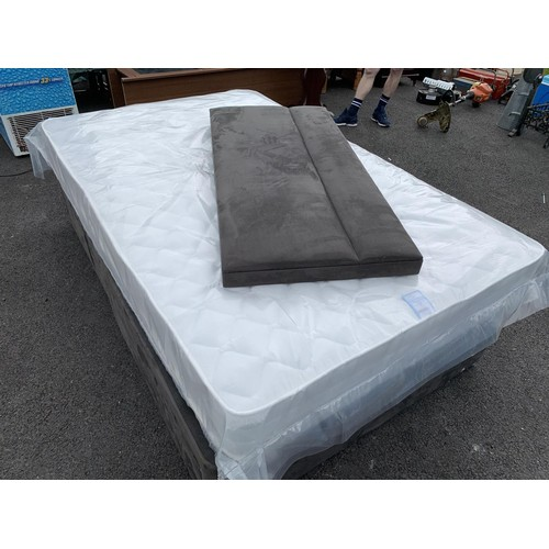 39 - 4FT DRAWERED BED COMPLETE WITH MATTRESS & HEABOARD