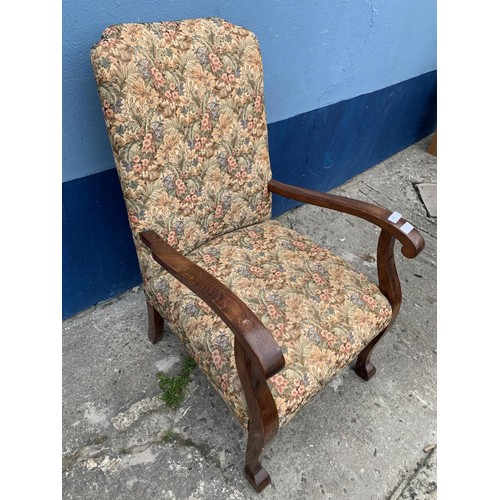 45 - A MAHOGANY FRAMED FIRESIDE CHAIR IN A TAPESTRY PATTERN