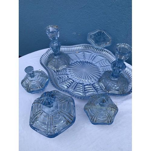 55 - BLUE GLASS DRESSING TABLE SET