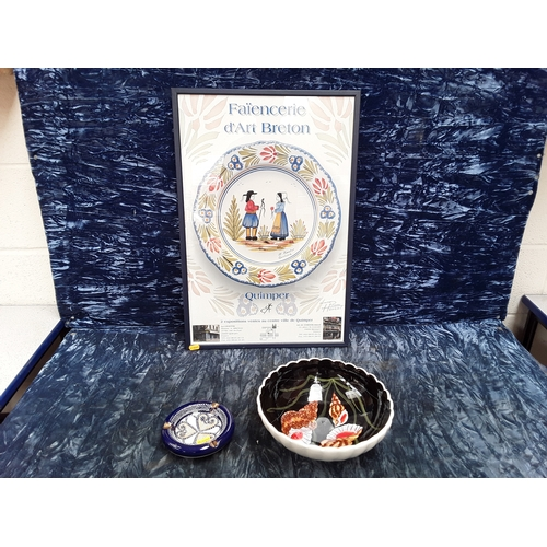 56 - Quimper items including ash tray, bowl and  picture...