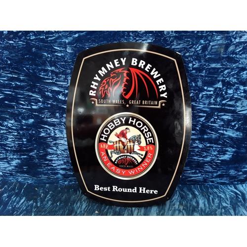 34 - Rhymney Brewery Hobby Horse metal advertising sign...