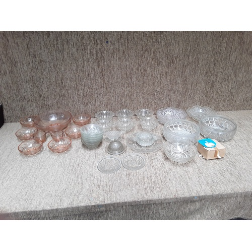 19 - Large selection of glass bowls and punch set...