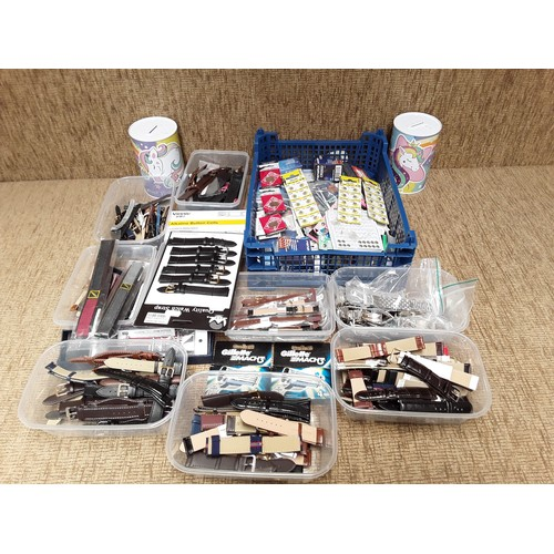 29 - Large collection of new watch straps, battery's and mach 3 razor refills...