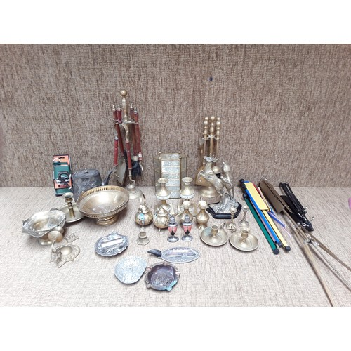 31 - Large selection of brass and silver plate items including candlesticks...