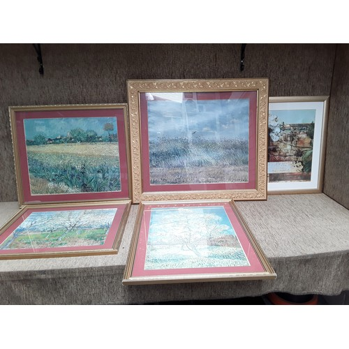 4 - Collection of 5 decorative prints in frames...
