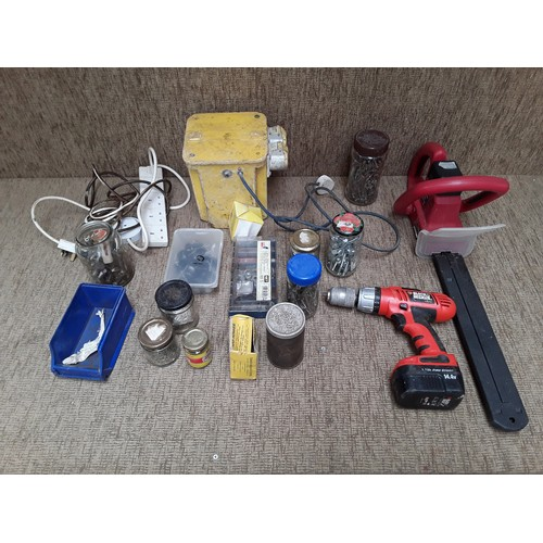 56 - Celection of tools and fixings including 110 volt transformer , power devil hedge trimmer and variou...