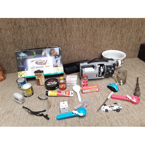 53 - Collection of household items including projector AF paints and polishers...