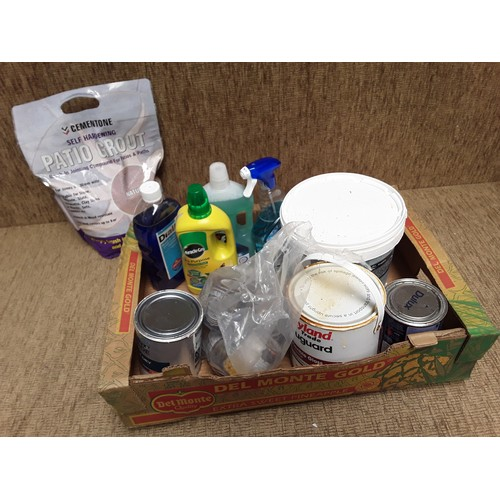 58 - Box of mixed paints, and cleaning products...