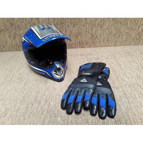 20 - Wulf Motorbike helmet and pair of bikers Gloves...