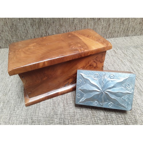52 - Two walnut jewellery boxes one large, and one with a silver top...