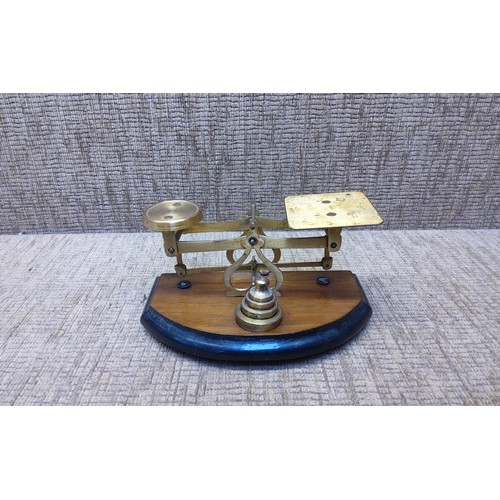 8 - Vintage small set of brass scales with weights on wooden base.