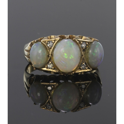 1 - 22ct yellow gold opal three stone ring with diamond highlights, finger size Q, weight 6.3g...