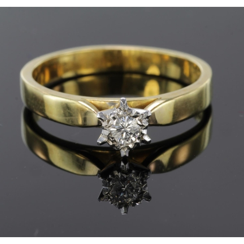 10 - 18ct Gold Ring set with Diamond approx 0.20ct weight size N weight 3.8g...