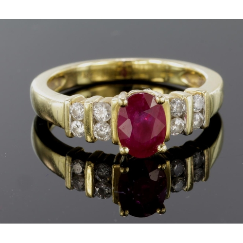 11 - 18ct Gold Ring set with Ruby and Diamonds size L weight 4.5g...