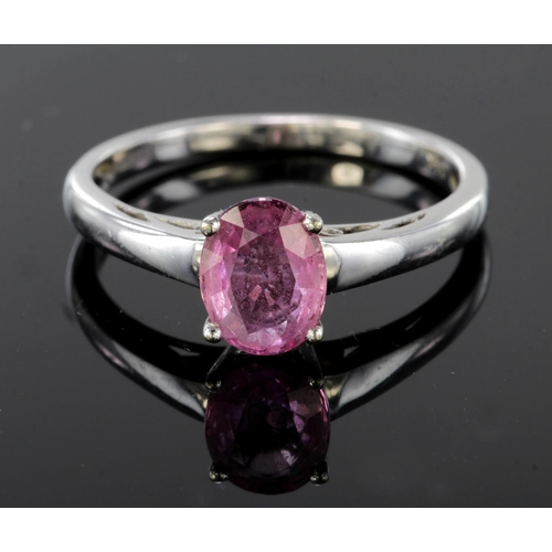 14 - 14ct Gold Ring set with Pink Sapphire size L weight 2.2g...