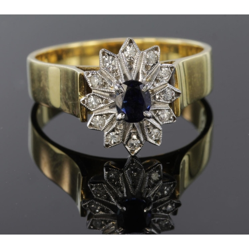 16 - 18ct Gold Ring set with Sapphire and Diamonds size P weight 5.9g...