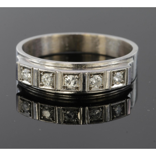 19 - 18ct White Gold five stone Diamond Ring size O weight 4.6g...