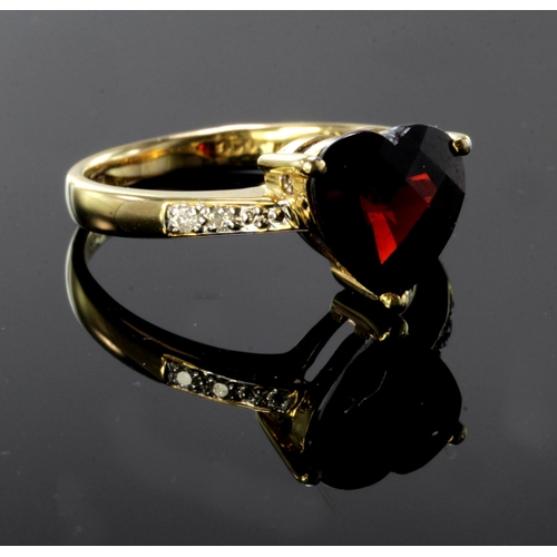 2 - 18ct yellow gold ring set with heart shaped garnet with diamond shoulders, finger size N, weight 3.6...