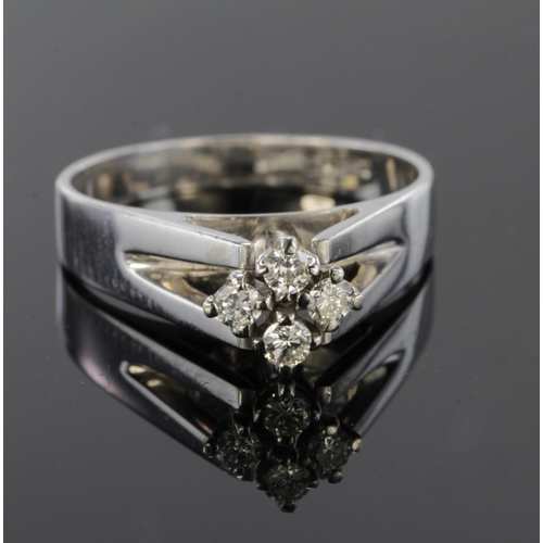 20 - 18ct White Gold four stone Diamond Ring size J weight 3.6g...