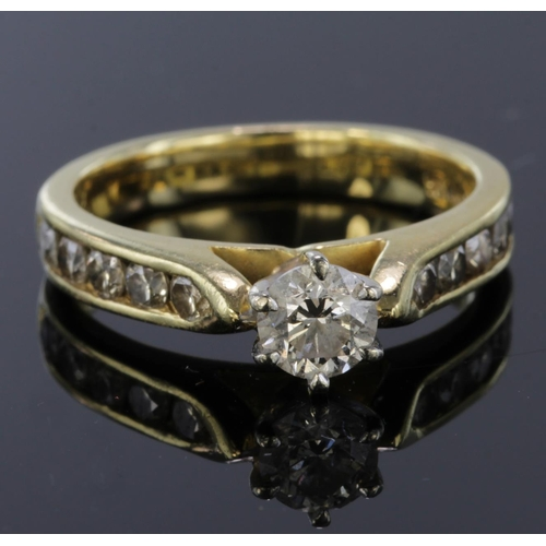 21 - 18ct Gold Diamond Ring Centre stone approx 0.50 ct with Diamond shoulders approx 1.0ct total weight ...
